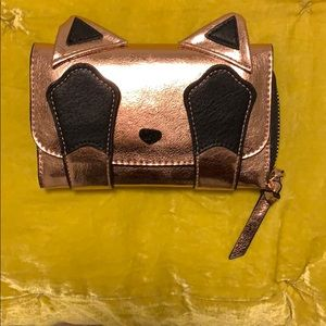 Rose gold kitty cat wallet/clutch